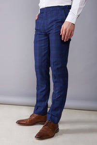 BOBBY Blue & Black Check Trousers