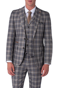 BOBBY Grey Check Slim Fit Suit Jacket
