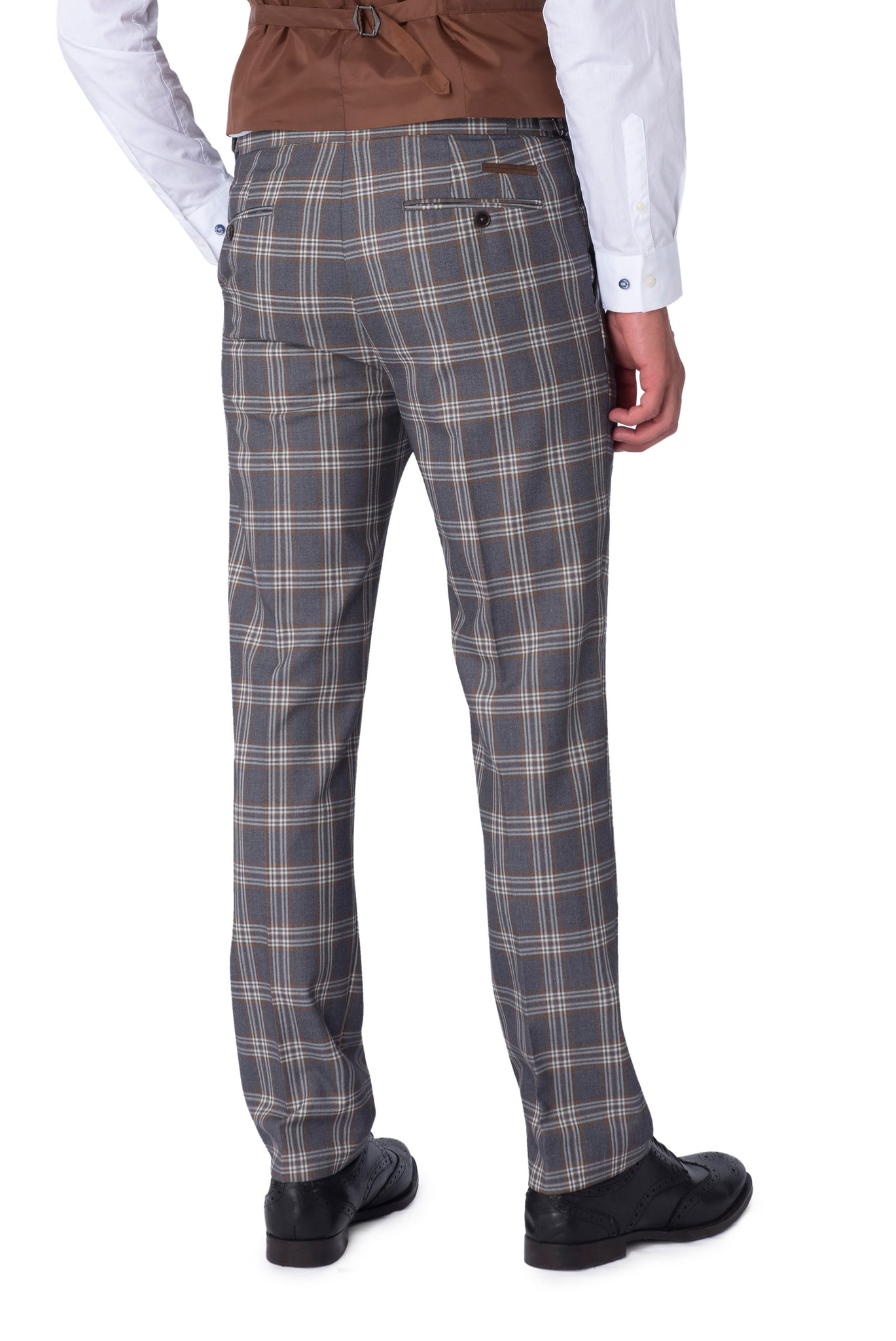 BOBBY Grey Check Slim Fit Suit Trousers