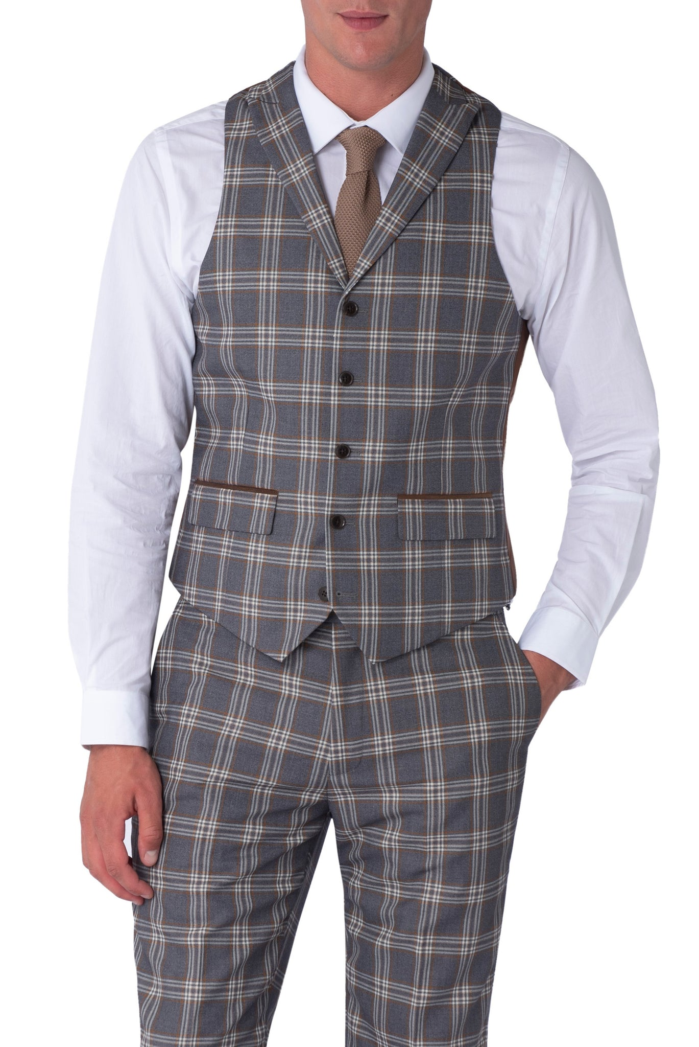 BOBBY Grey Check Slim Fit Suit Waistcoat