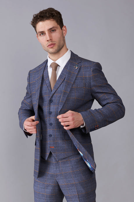 CALLUM Grey & Orange Check Three Piece Suit