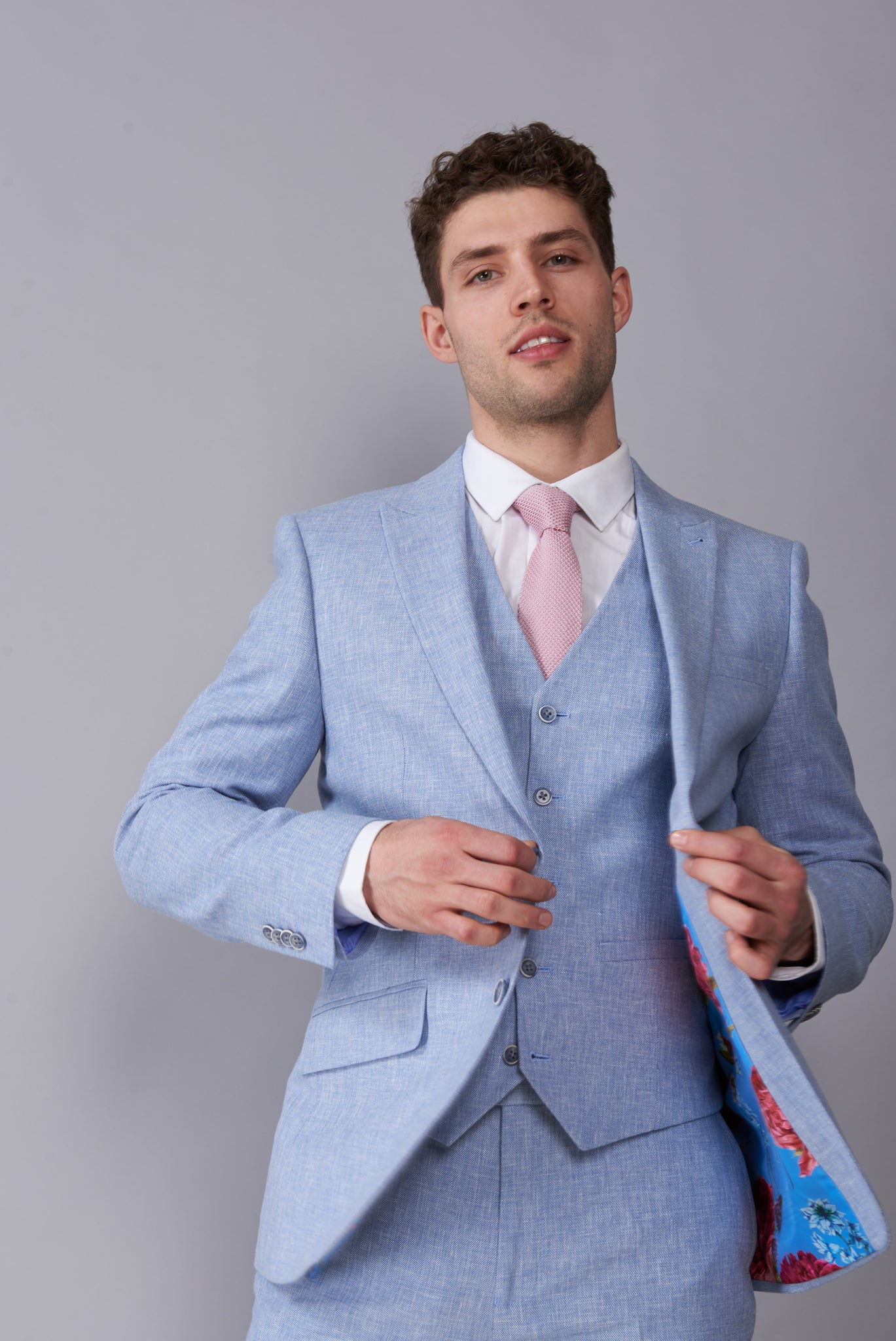 CAMERON Pale Blue Three Piece Linen Suit
