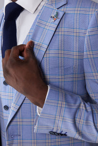 CLIVE Pale Blue & Cream Check Three Piece Suit