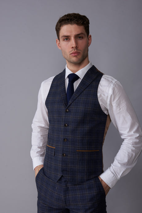 DYLAN Blue Check Slim Fit Suit Waistcoat