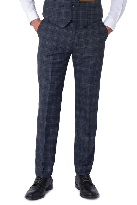 DYLAN Blue Check Slim Fit Suit Trousers