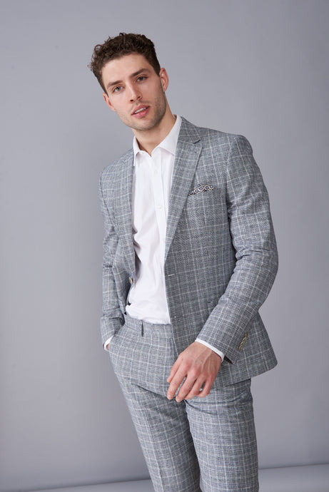 ELI Grey Check Two Piece Linen Suit