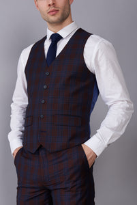 ELLIOTT Burgundy Check Three Piece Suit