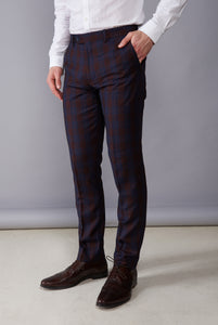 ELLIOTT Burgundy Check Trousers