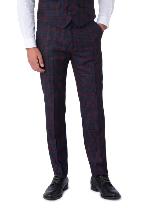 ELLIOTT Navy Check Slim Fit Suit Trousers
