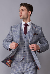 ELLIS Grey & Blue Check Three Piece Suit