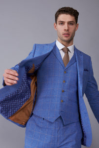 FINN Light Blue Check Three Piece Linen Suit