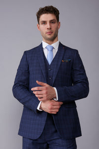 FLETCHER Navy Check Slim Fit Three Piece Suit