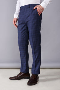 FLETCHER Navy Check Suit Trousers