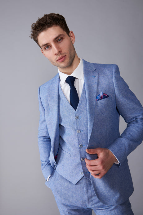 GABRIEL Blue Three Piece Linen Suit
