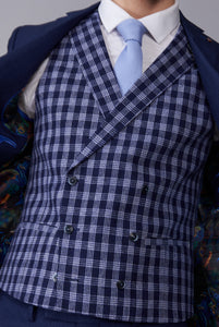 GEOFFREY Blue & White Check Double Breasted Waistcoat