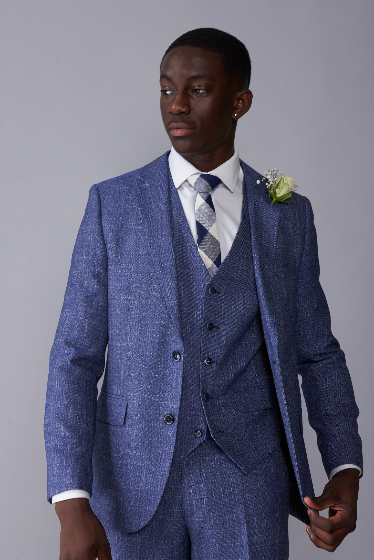 ISAAC Light Blue Melange Slim Fit Suit Jacket