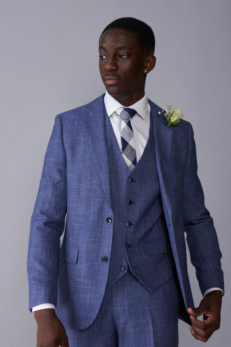 ISAAC Light Blue Melange Slim Fit Suit