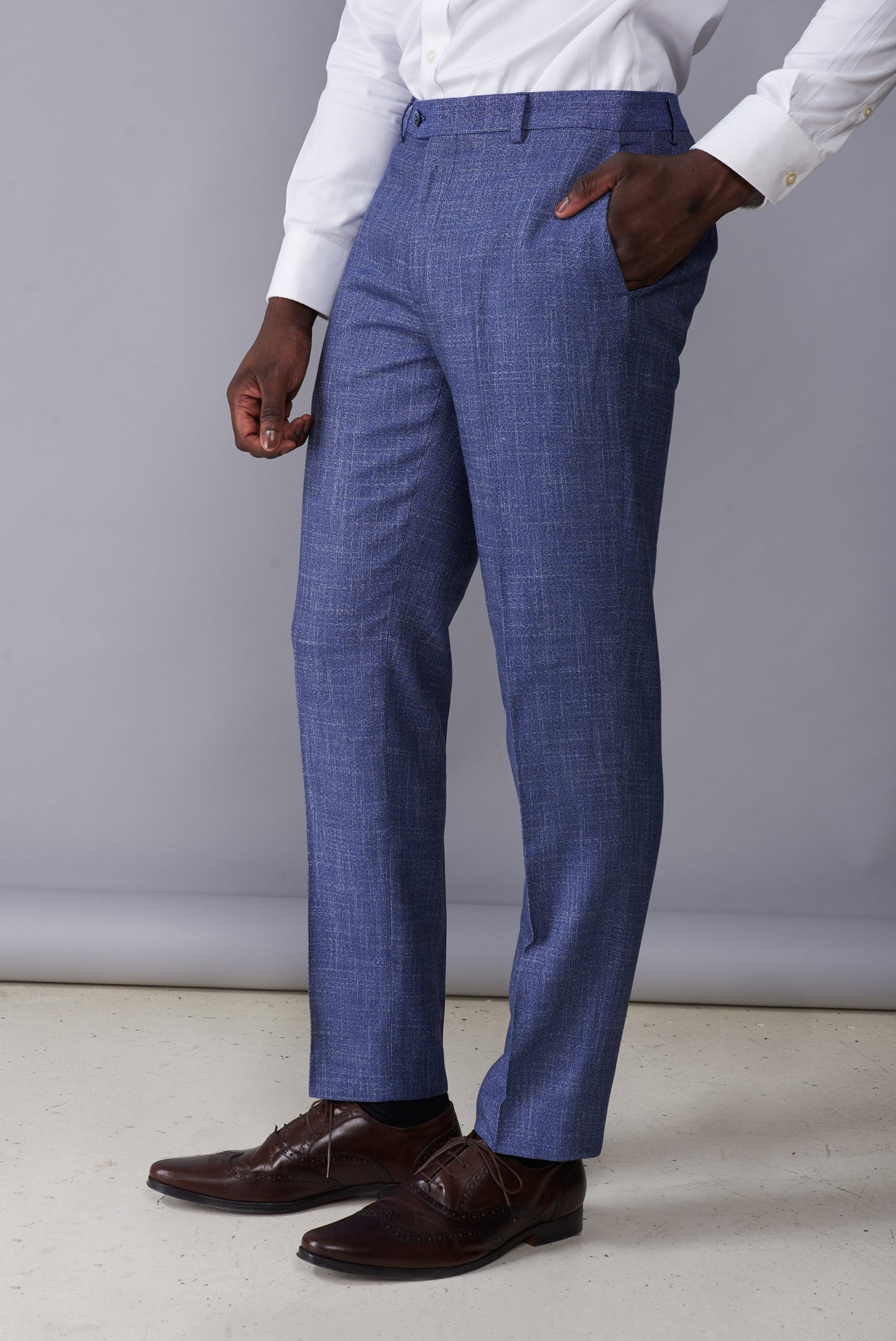 ISAAC Light Blue Melange Slim Fit Suit Trousers