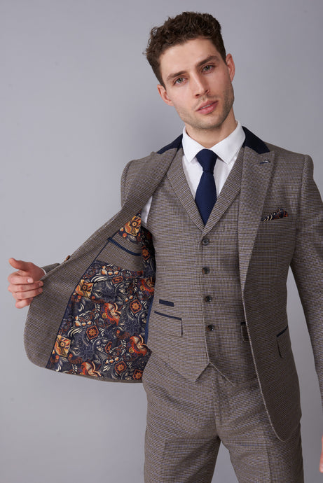 JASPER Brown Puppytooth Three Piece Suit