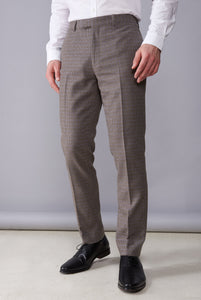 JASPER Brown Puppytooth Slim Fit Suit Trousers