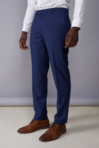 JONATHAN Blue Mini Check Slim Fit Suit Trousers