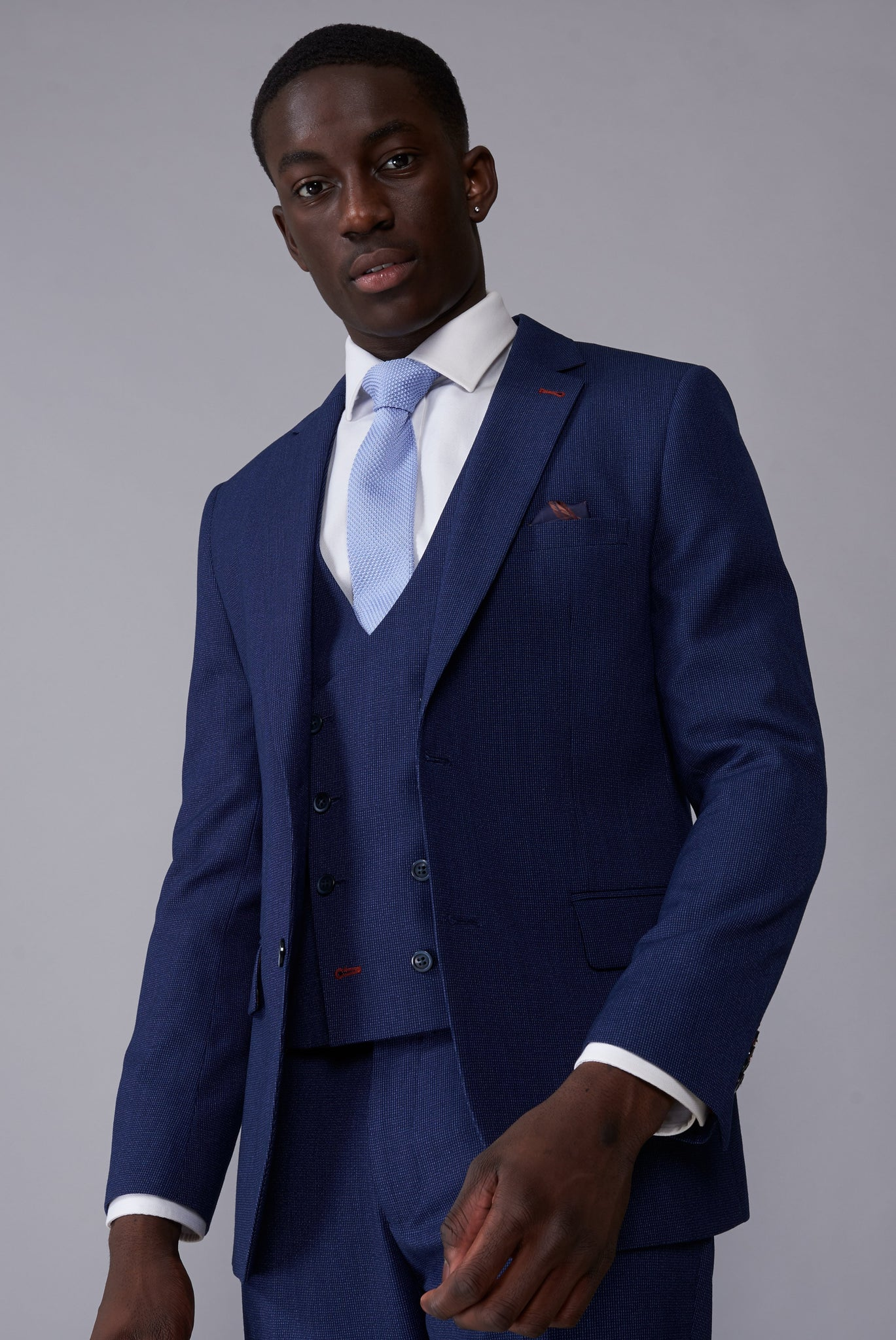 JONATHAN Blue Mini Check Slim Fit Suit Jacket
