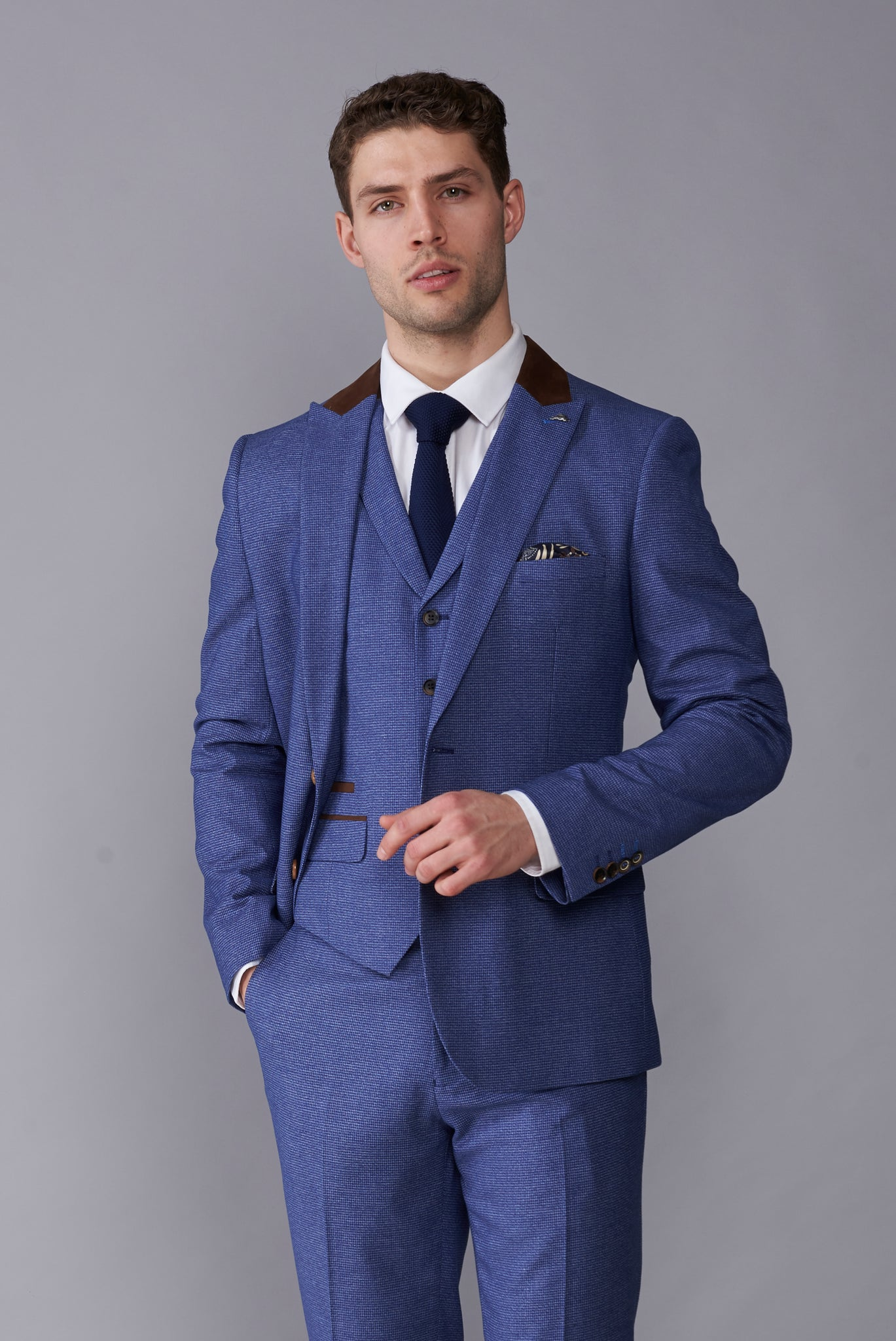 JOSHUA Light Blue Slim Fit Suit