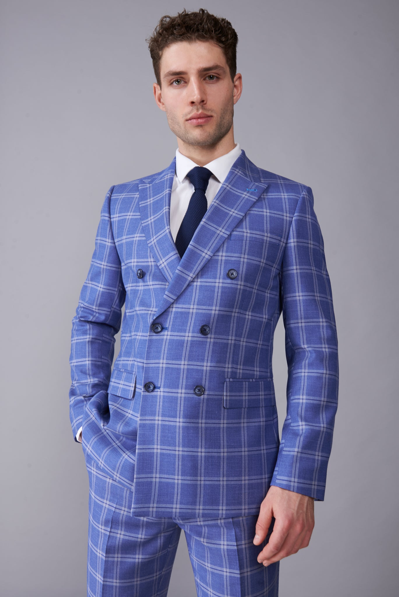 MAX Blue Check Double Breasted Suit Jacket