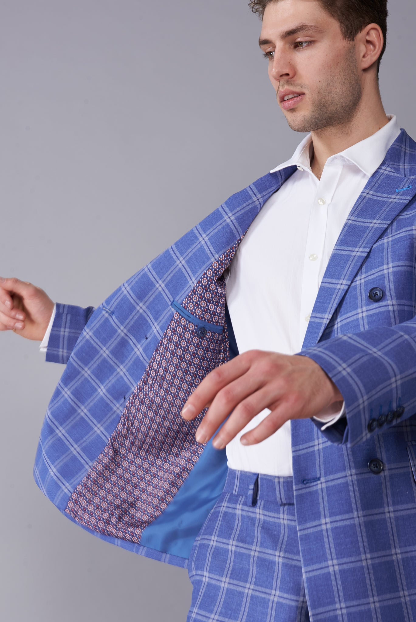 MAX Blue Check Double Breasted Two Piece Suit
