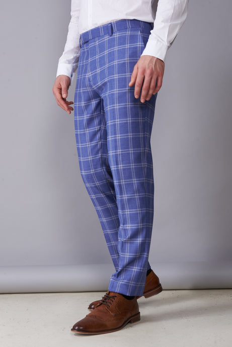 MAX Blue Check Double Breasted Suit Trousers