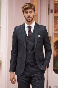 NICHOLAS Navy Mini Check Three Piece Suit