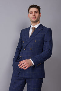 OAKLEY Navy Denim Check Double Breasted Suit Jacket