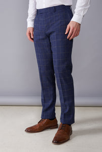 OAKLEY Navy Check Double Breasted Suit Trousers