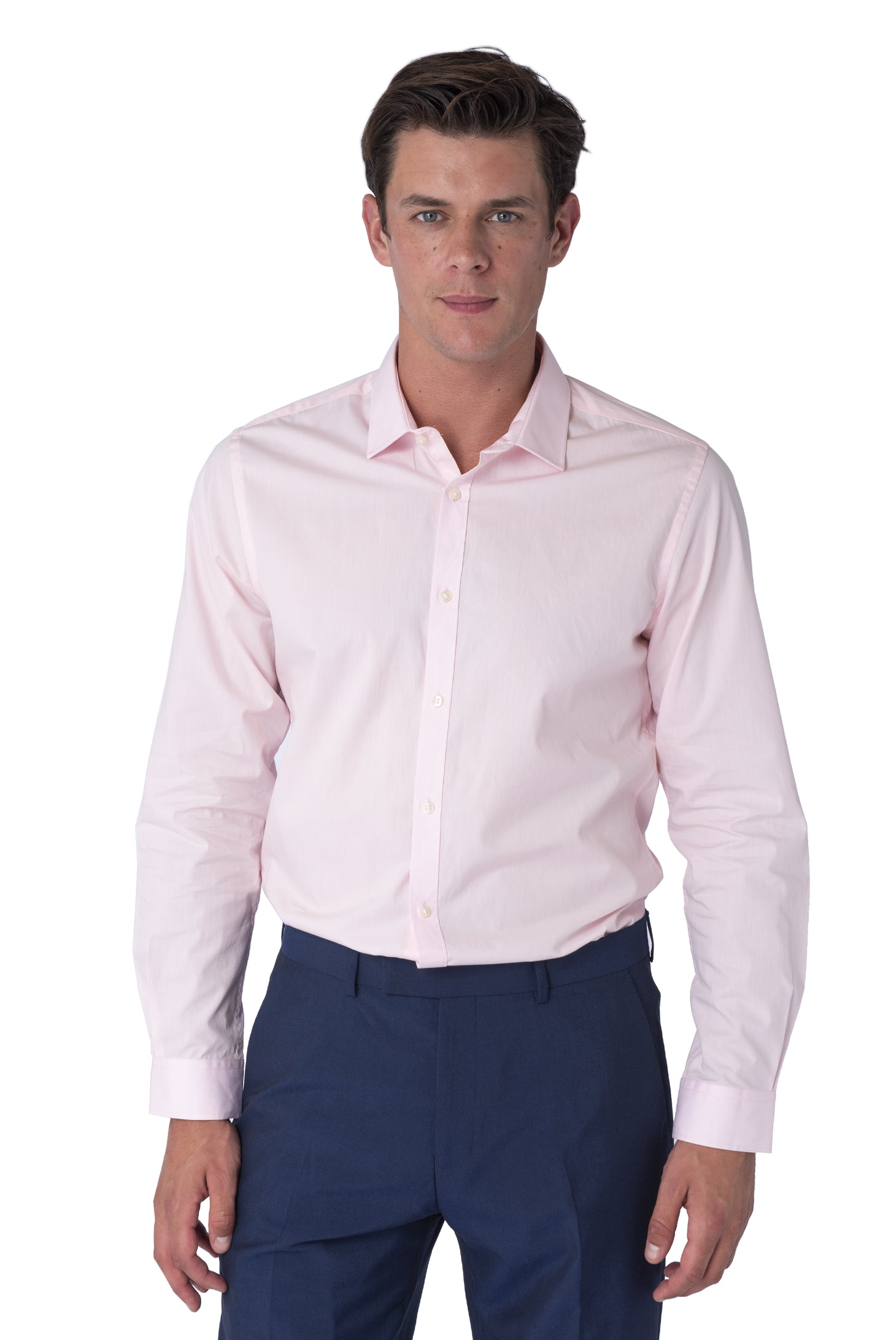 Front of THEO Light Pink Cotton Shirt