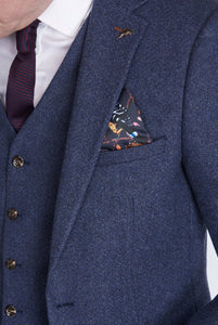 Edward Navy Herringbone Three Piece Suit