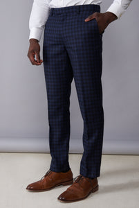 TRISTAN Black & Navy Check Three Piece Suit
