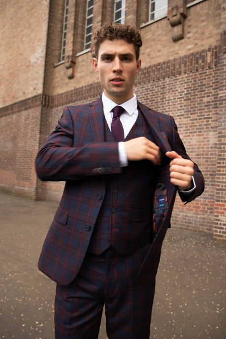 ELLIOTT Navy Check Slim Fit Suit Jacket