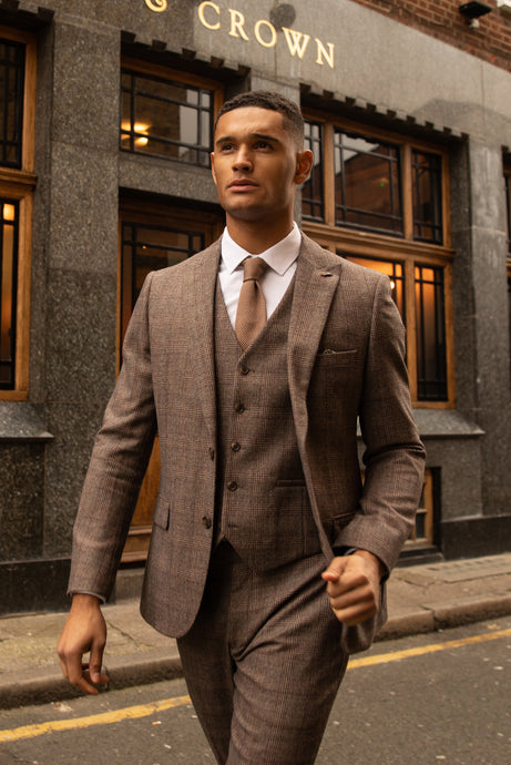 TYLER Brown Check 100% Wool Suit