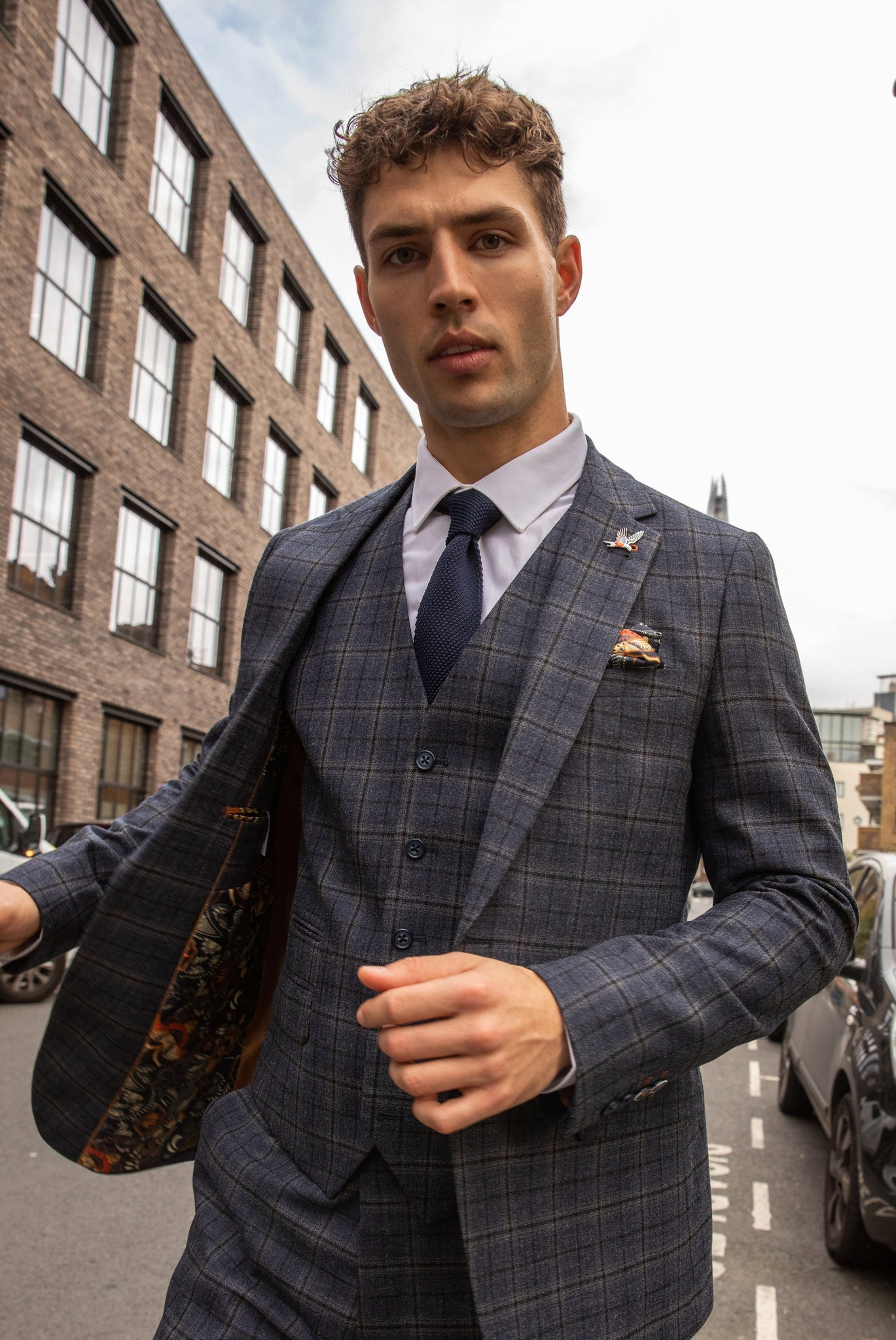 DYLAN Blue Check Slim Fit Suit Jacket