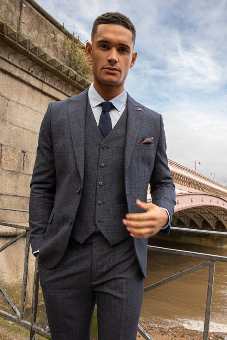 FINLEY Blue Check 100% Wool Suit