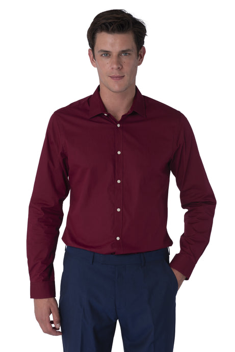 Front of THEO Burgundy Cotton Shirt