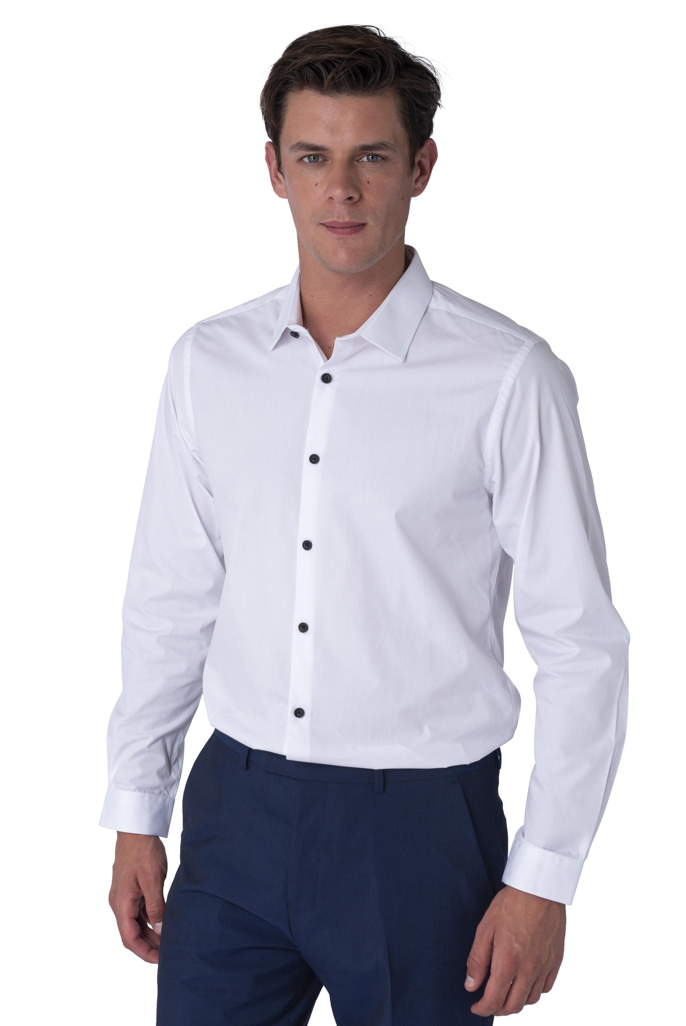 Front of RILEY Contrast Button Shirt