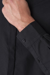 Cuff Detail of JOSHUA Black Grandad Cotton Shirt