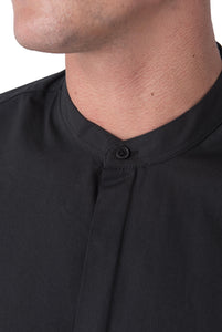 Collar Detail of JOSHUA Black Grandad Cotton Shirt