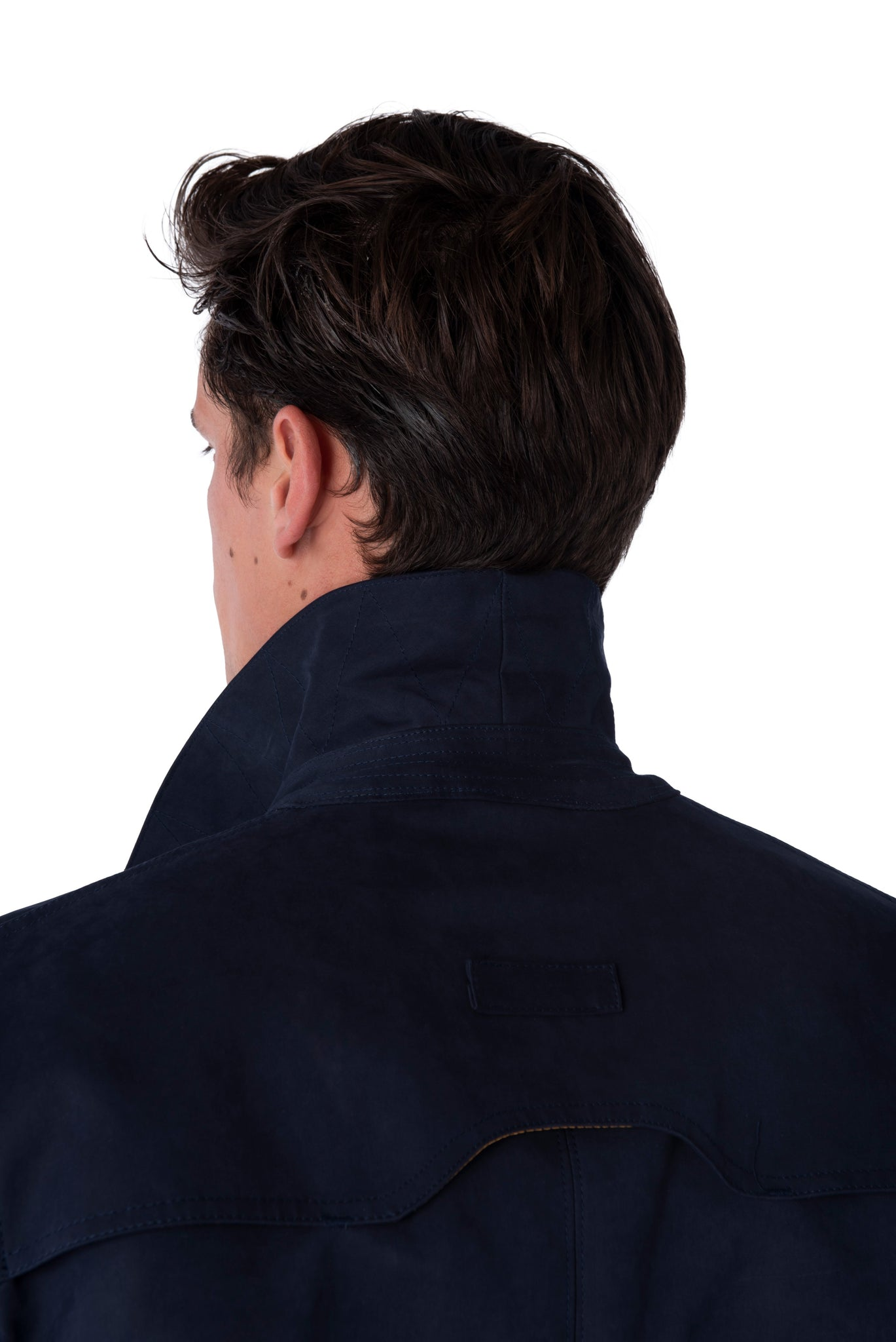 Collar of RONNIE Navy Lightweight Raincoat