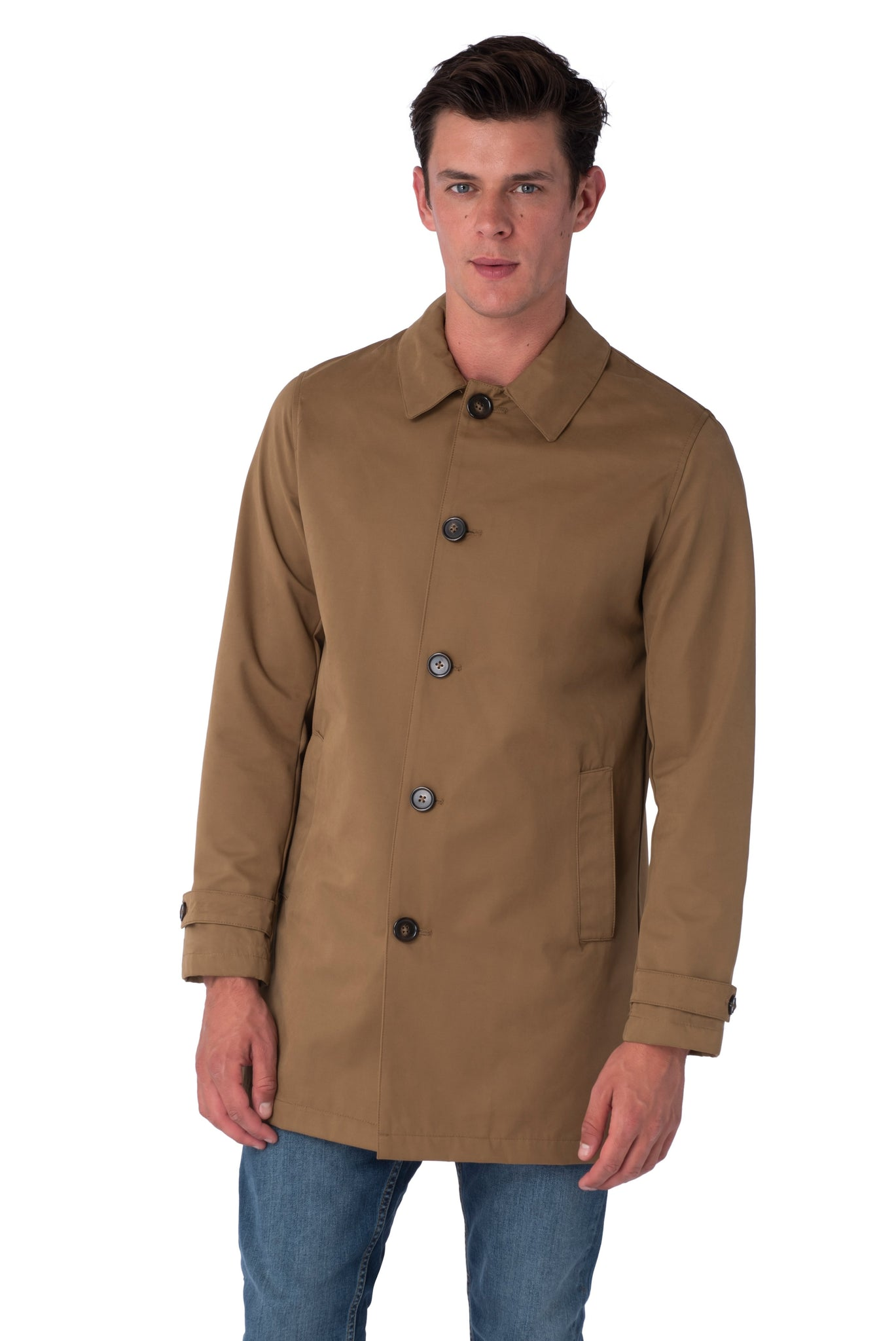 Front of RONNIE Tobacco Lightweight Raincoat