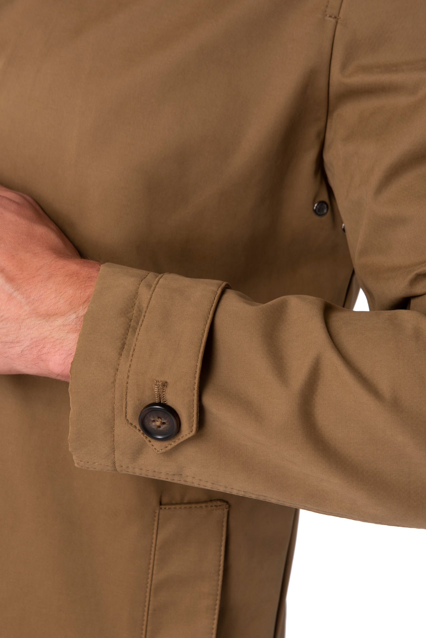 Cuff of RONNIE Tobacco Lightweight Raincoat