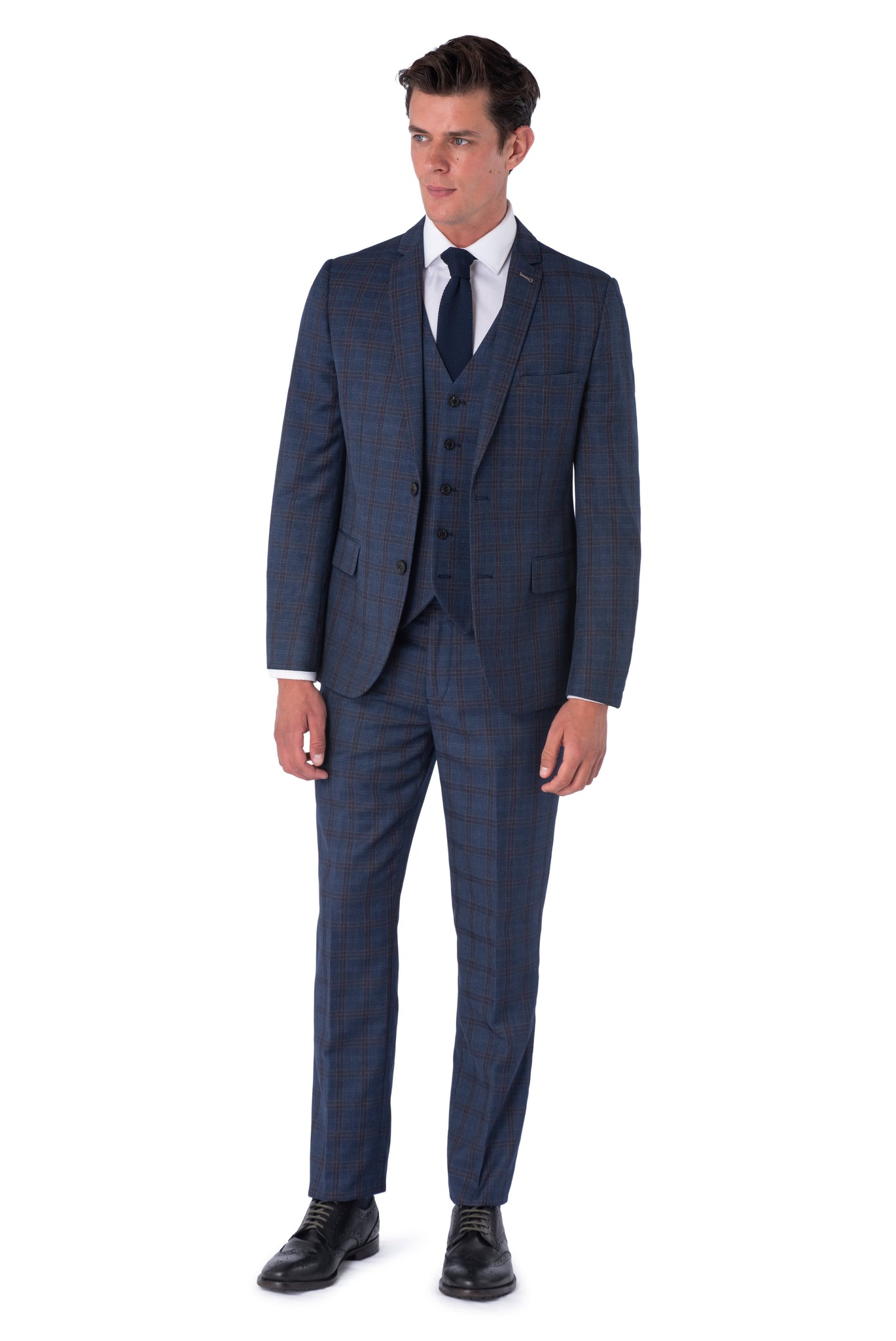 AIDEN Navy & Burgundy Slim Fit Suit - Front