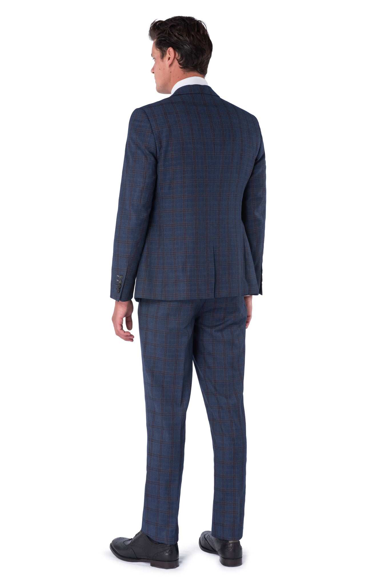 AIDEN Navy & Burgundy Slim Fit Suit - Back