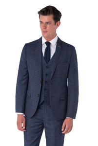 AIDEN Navy Check Three Piece Slim Fit Suit